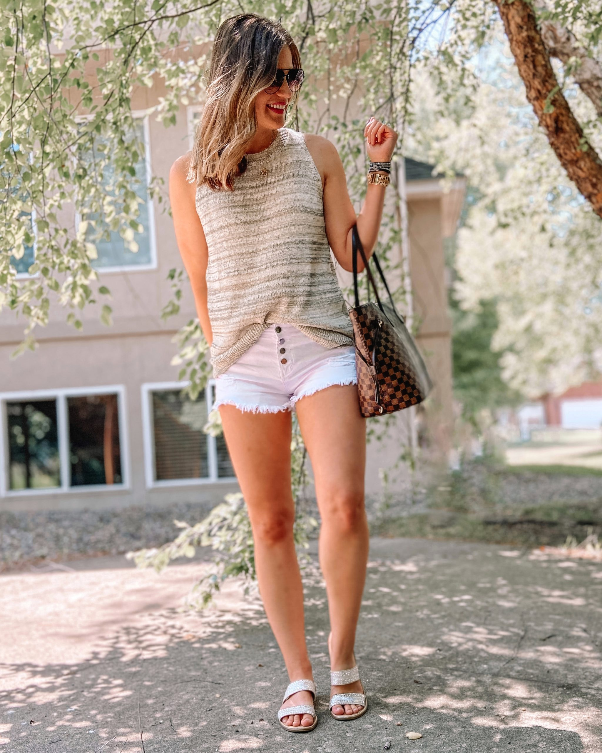 gray sweater tank layered gold necklace white button front shorts rhinestone slide kersha universal threads sandals daisy rose checkeredt tote bag victoria emerson crystal wrap bracelets quay high key sunglasses amazon shorts