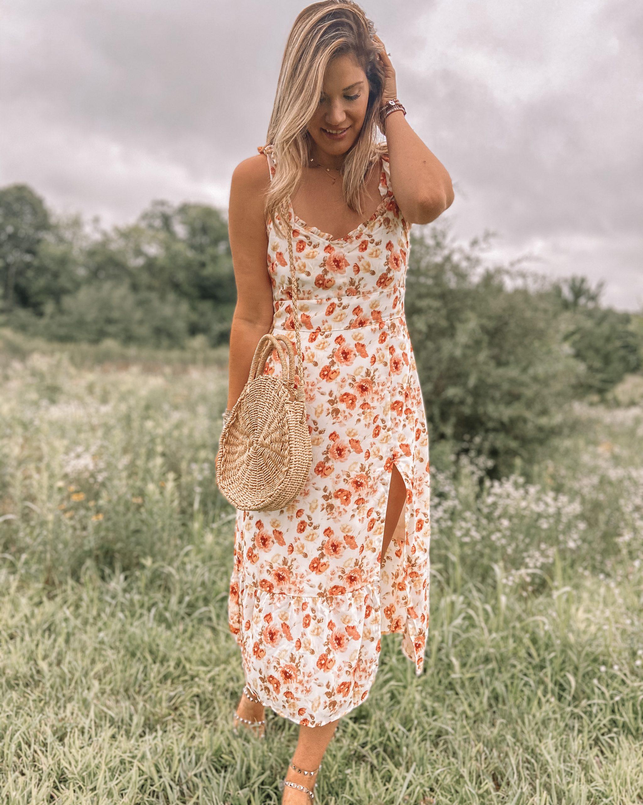 tall floral abercrombie midi dress