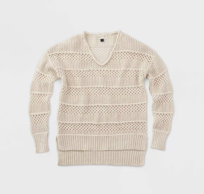 beige open stitch summer sweater