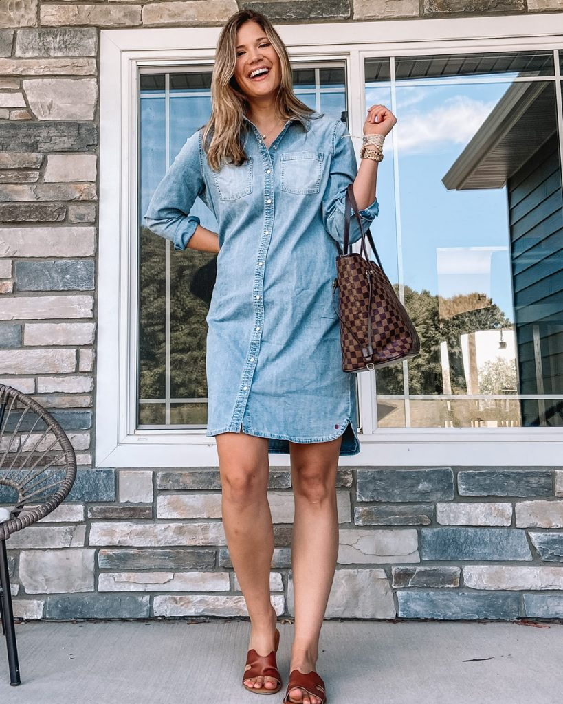 stretch chambray button front shirt dress brown checkered tote brown slide sandals fall outfits