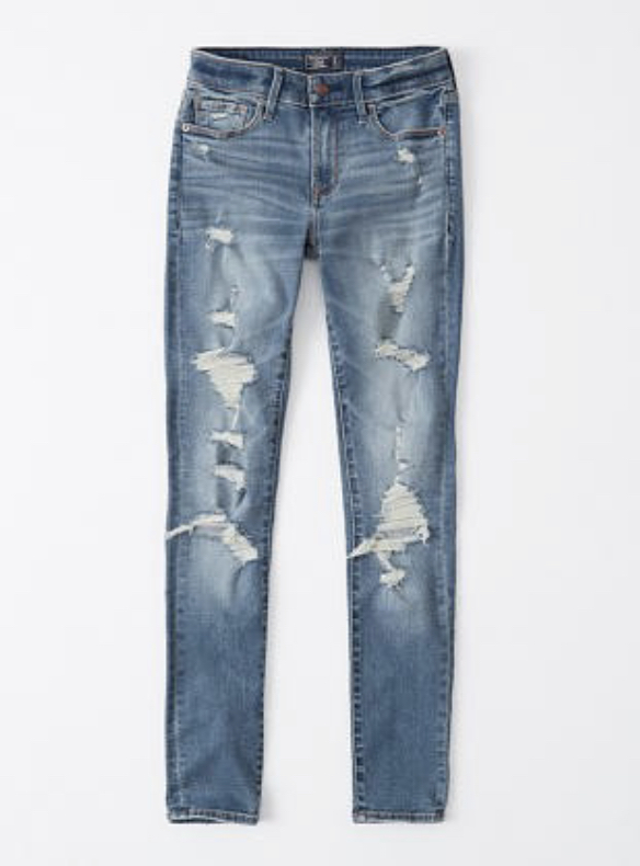 mid rise distressed abercrombie skinny jeans