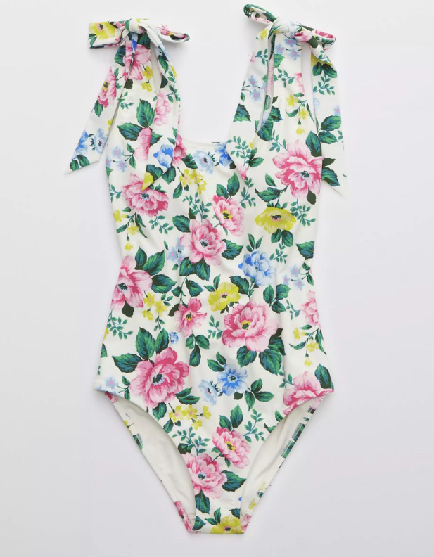 floral bow shoulder tall one piece swimsuit