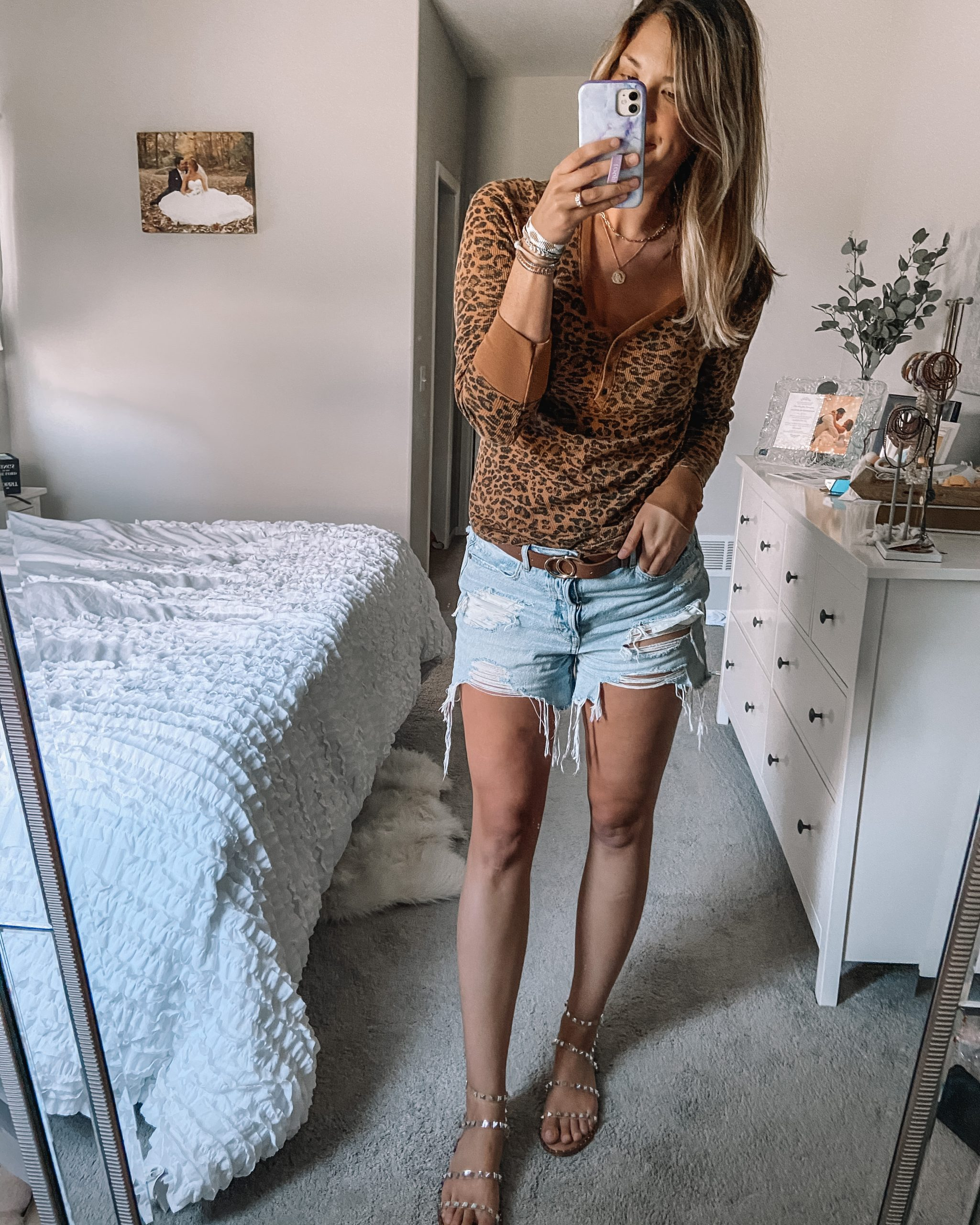cheetah print thermal henley top distressed 90s boyfriend jeans steve madden travel sandal brown belt