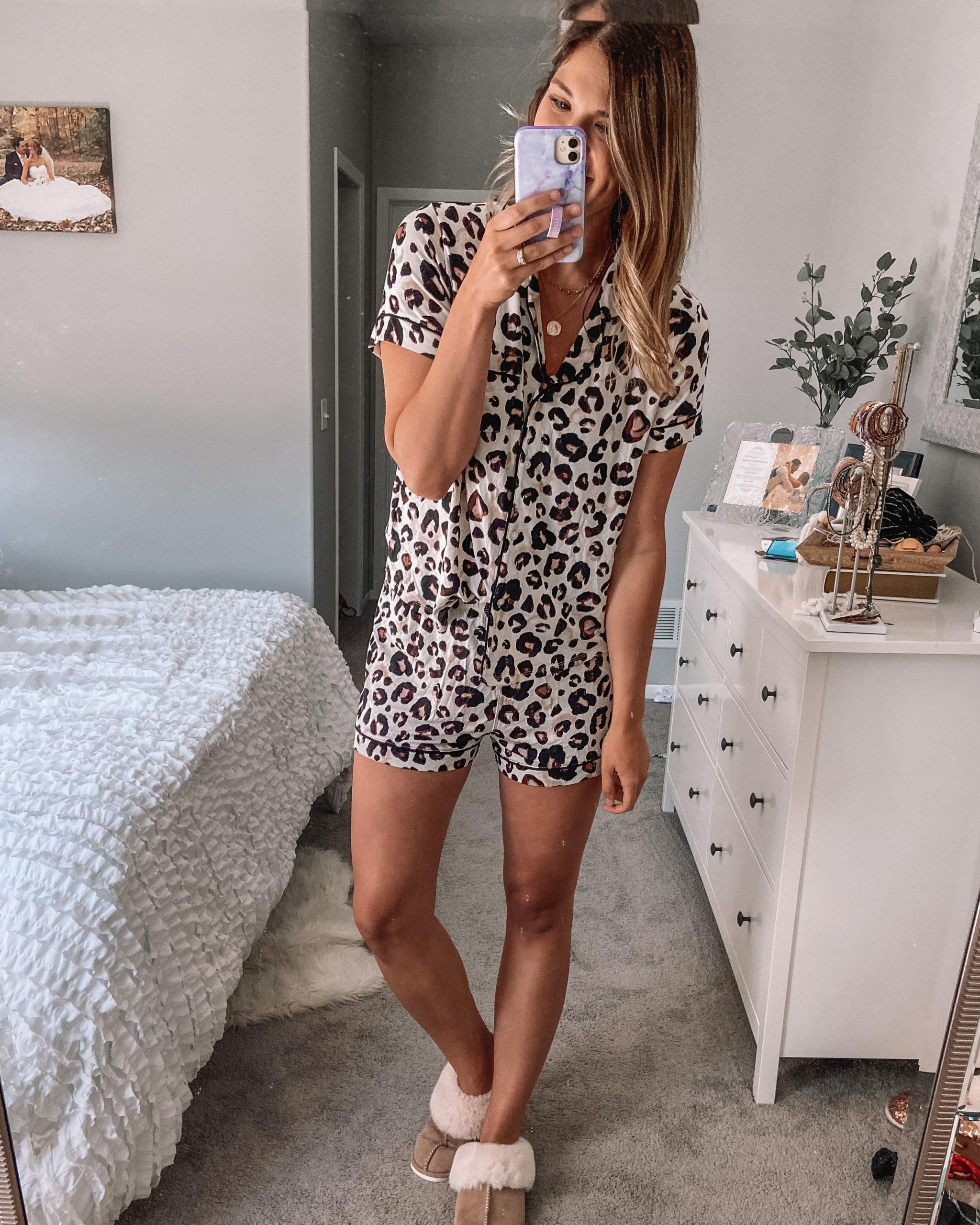 cheetah print pajamas and faux fur slippers