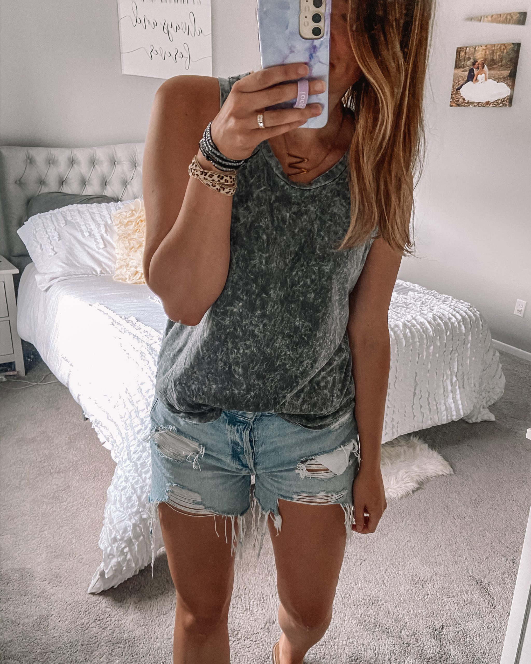 gray bleached tank top 90s boyfriend jean shorts