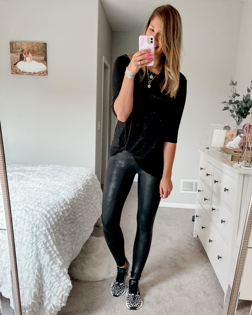 black plush twist front top / tall spanx faux leather leggings / adidas swift run cheetah print shoes