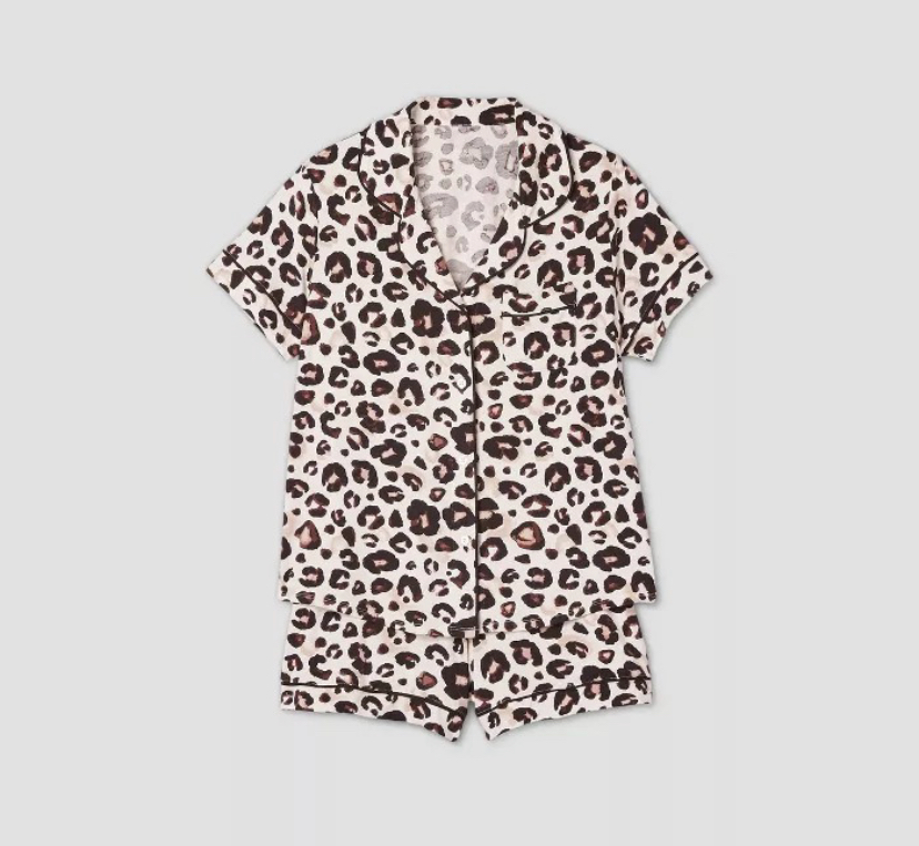 cheetah print shorts collar pajama set
