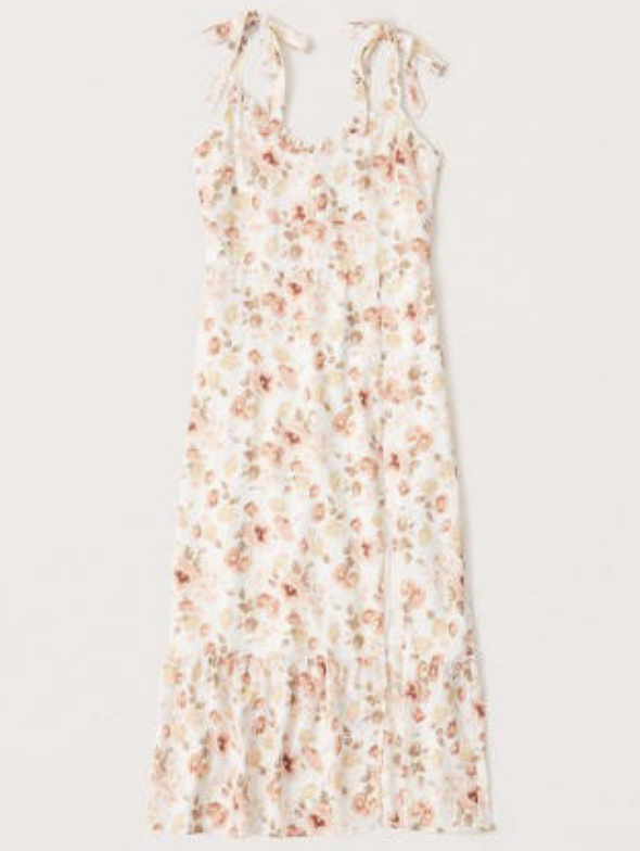 white floral shoulder tie midi dress in tall