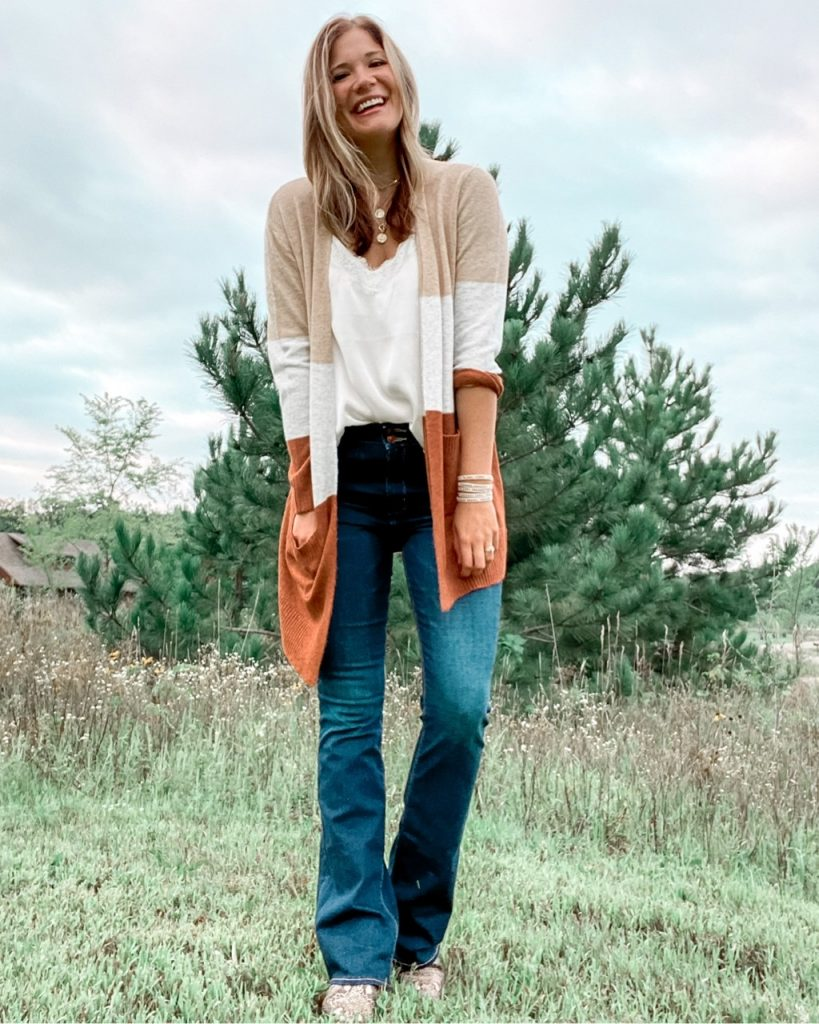 fall colorblock cardigna / satin and lace camsiole / dark wash extra long flare jeans / snakeskin booties