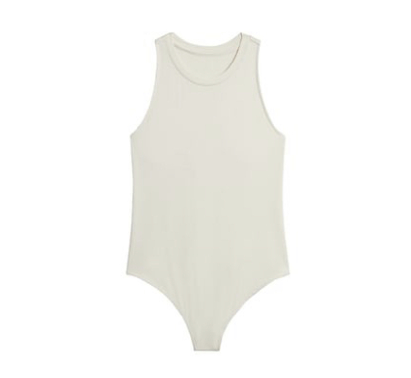 white racerback TALL thong bodysuit