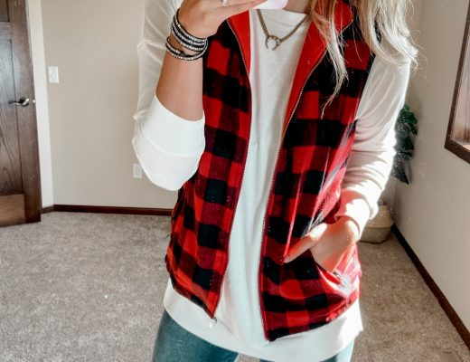 buffalo plaid fleece vest / amazon white tunic sweatshirt / white tops / amazon white tops / white crewneck sweatshirt