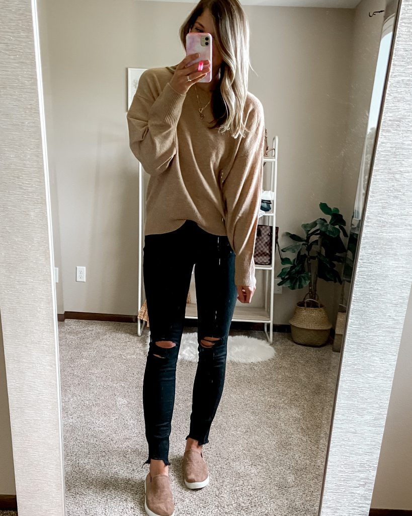 camel crew neck sweater / black distressed long jeans / tan slip on tennis shoes