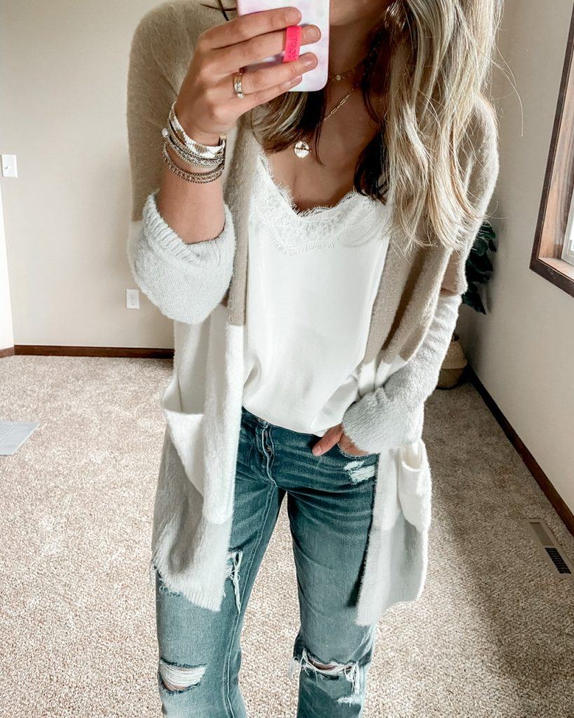 tan white and gray fuzzy colorblock cardigan / american eagle tomgirl stretch jeans / victoria emerson attica cuff bracelet / bp satin and lace camisole