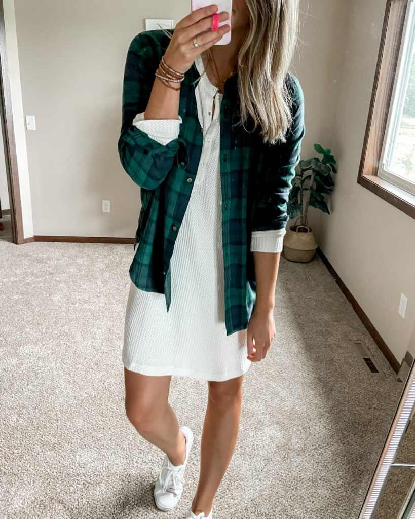 white waffle knit henley dress under green and blue tall plaid shirt