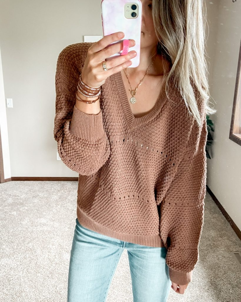 rust brown open stitch chunky sweater