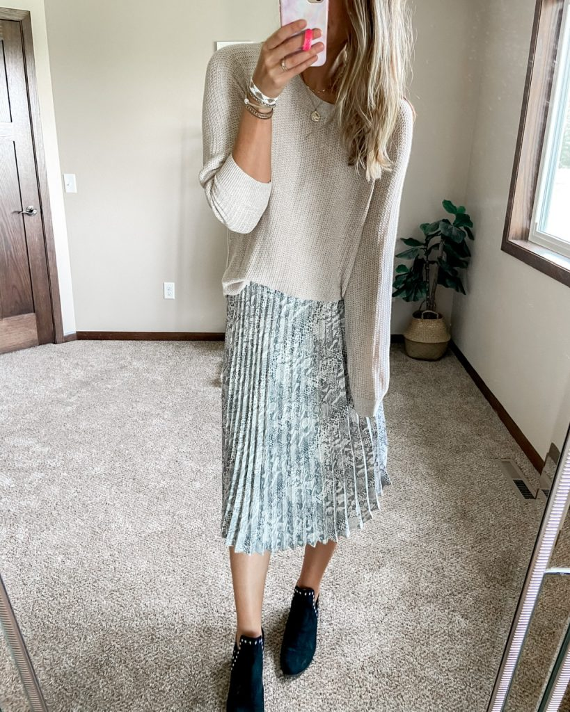 neutral sweater with snakeskin pletaed midi skirt time and tru