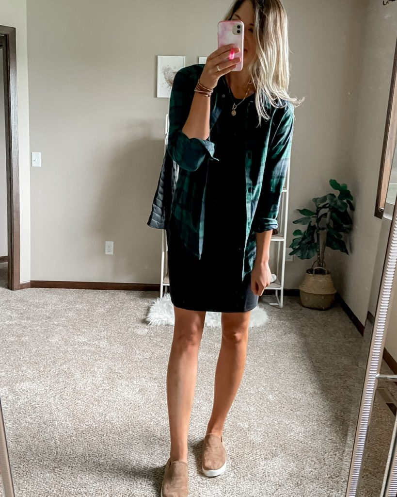 blue and green flannel shirt over black dress