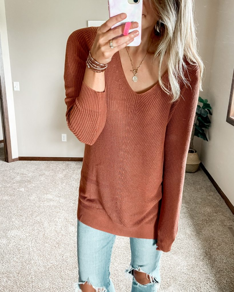 rust v neck long sleeve tunic sweater