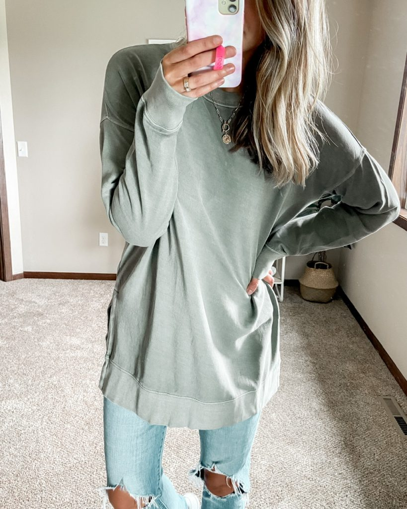 light green extra long crew neck sweatshirt