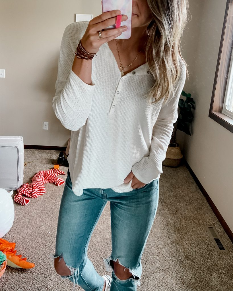 white tall length waffle knit henley top