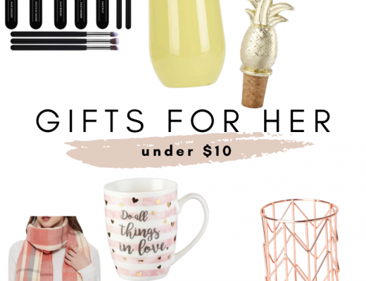 Gifts under $10 / stocking stuffers / teacher gift ideas / gift exchange gifts / secret Santa gifts / brush set / cute coffee mug / gold necklace / nail polish / rose gold holder / marble bowl / plaid scarf / acrylic organizer / yellow tumbler / affordable gift ideas
