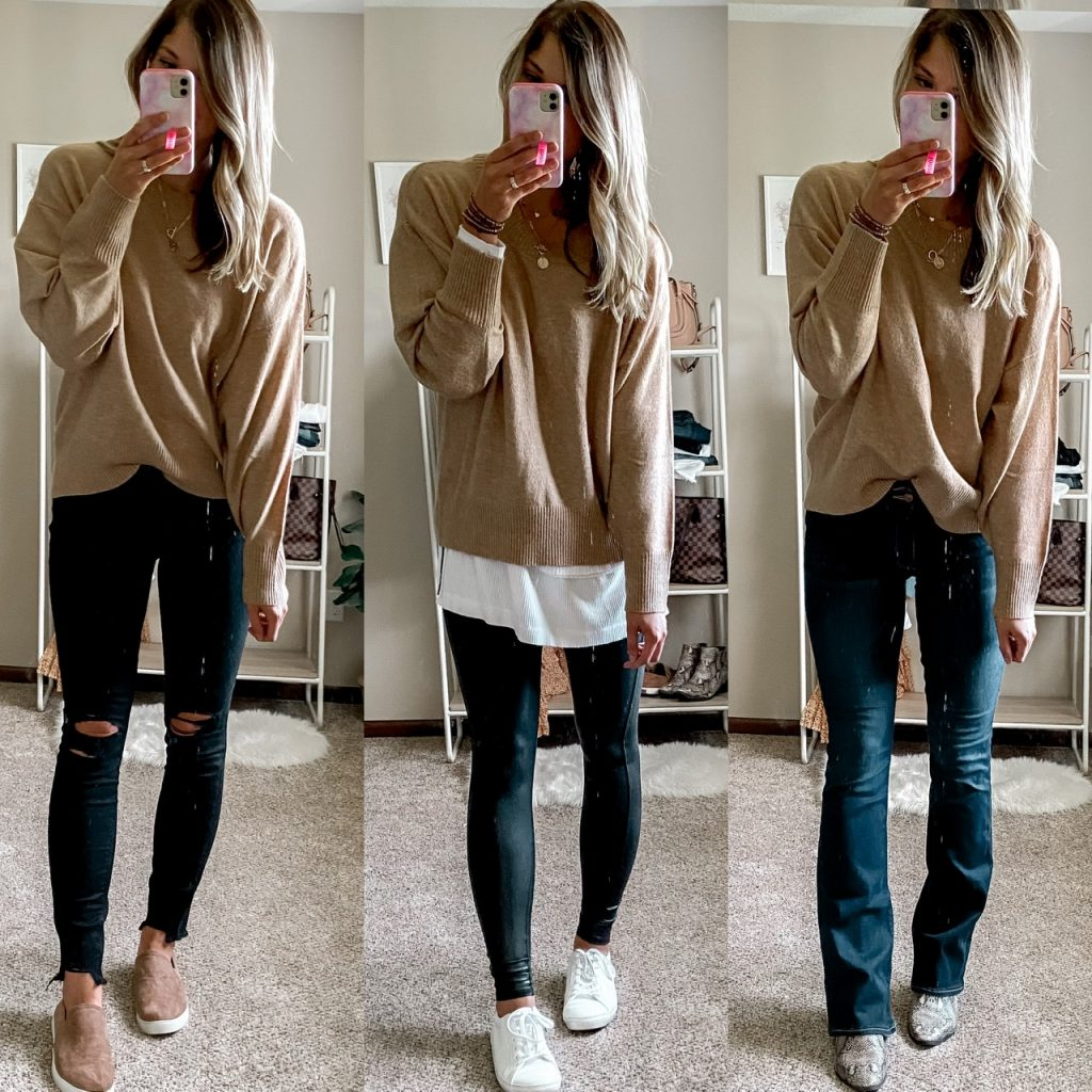 camel crewneck sweater / black skinny jeans / black flare jeans / spanx faux leather leggings / ways to style a sweater