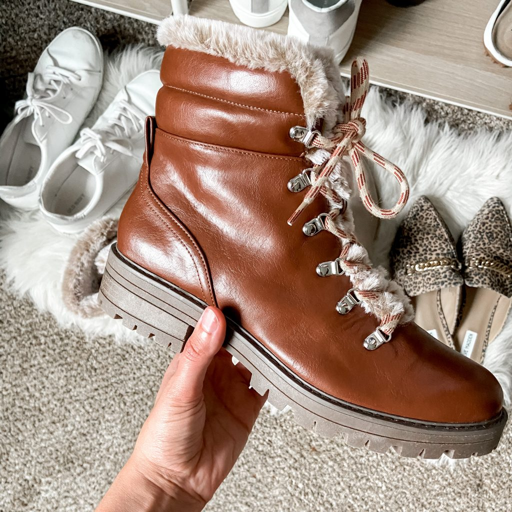 fur boots / hiking boots / brown boots / brown combat boots / target boots