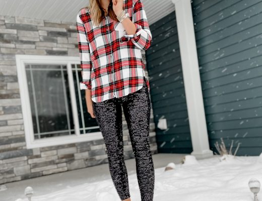 tall red and green plaid button front shirt // express black sequin leggings // beige booties // black pom beanie // holiday style // christmas outfits // holiday outfits // sparkly holiday style