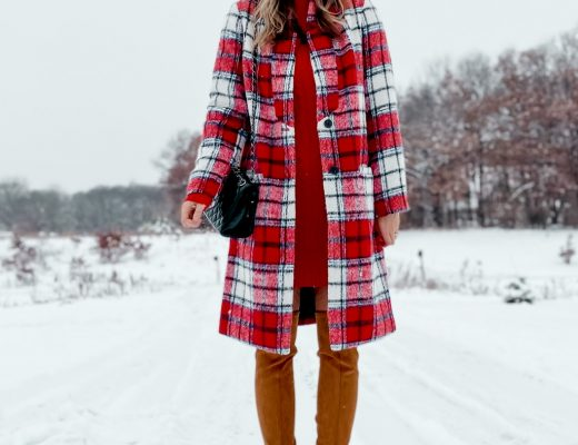 goodnight macaroon over the knee boots / red and white plaid dress coat / white ear muffs // red sweater dress