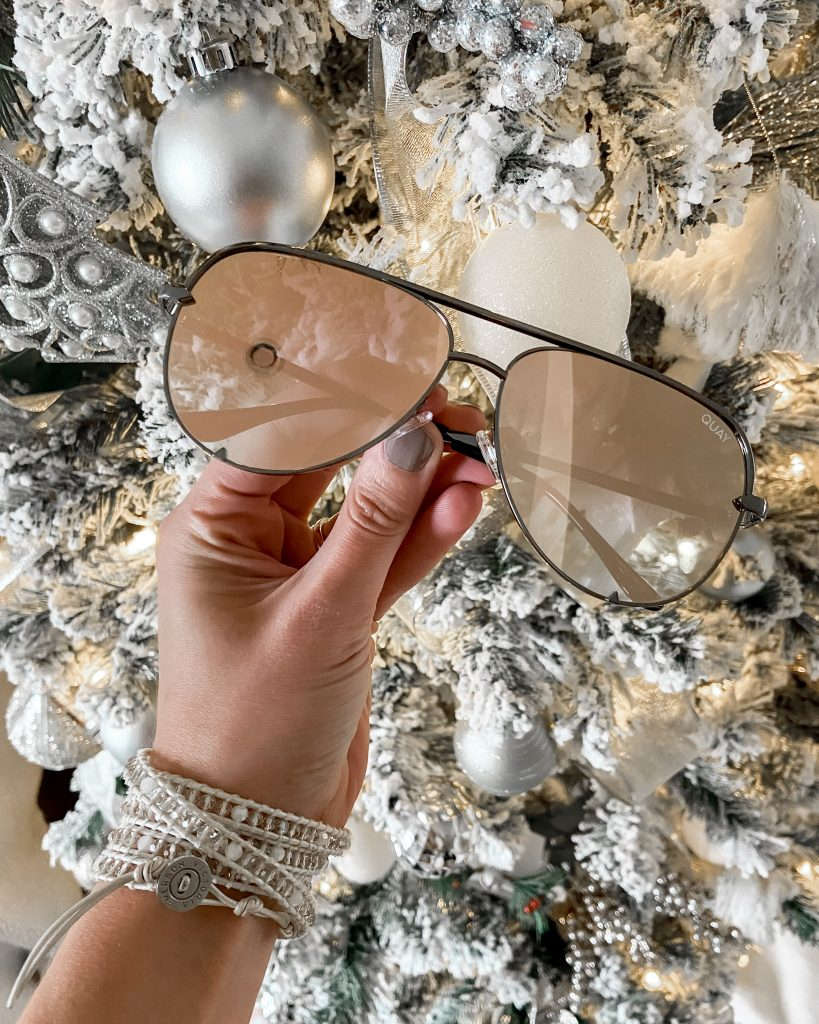 quay sunglasses / tinted sunglasses / rose gold aviator sunglasses / stocking stuffers / womens stocking stuffer ideas