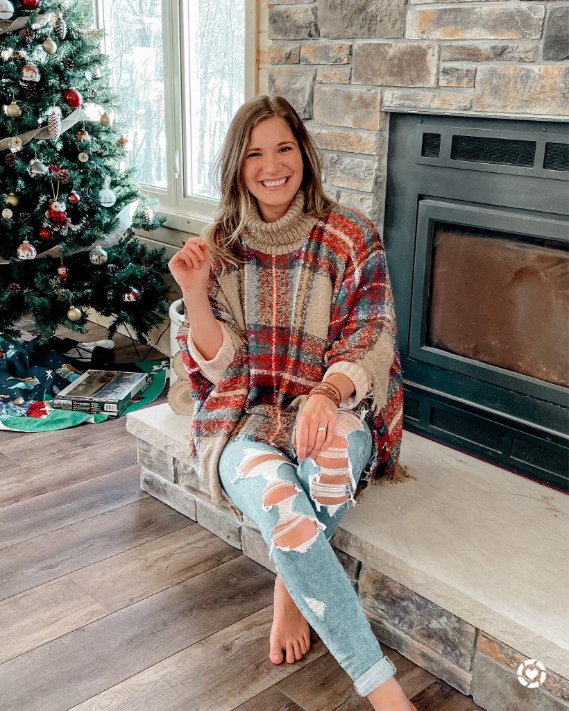 tan and red plaid poncho / the best after christmas sales