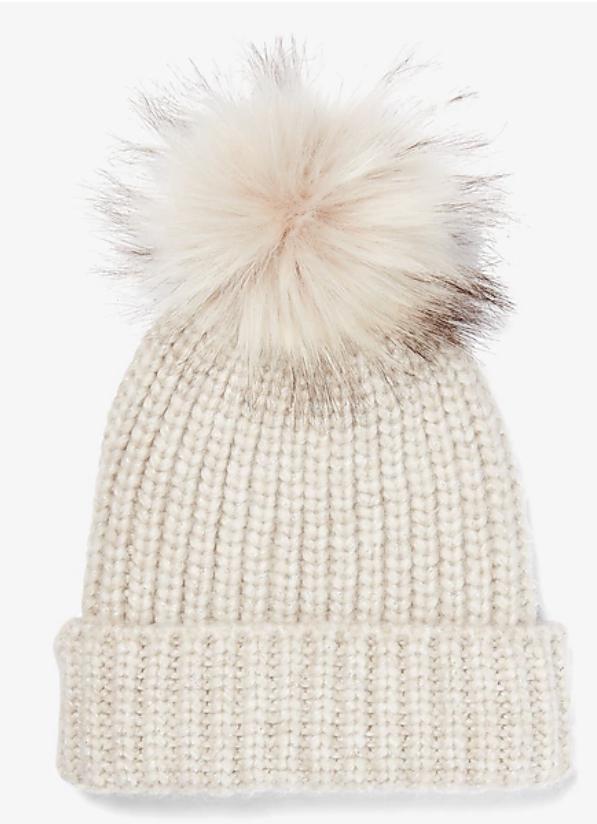 express ribbed knit pom beanie / white pom pom beanie