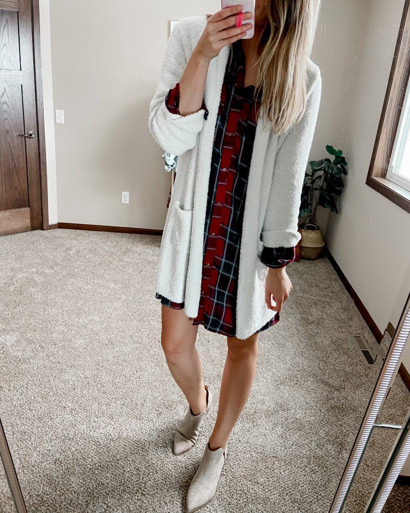barefoot dreams dupe cardigan / plaid shirt dress / beige booties / tall shirt dress