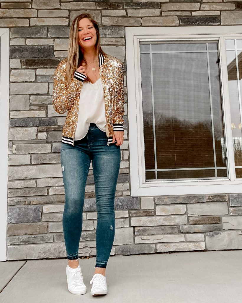 gold sequin bomber jacket /  sequin skirt / sequin joggers / new years eve outfits / nye outfits / sequin outfits