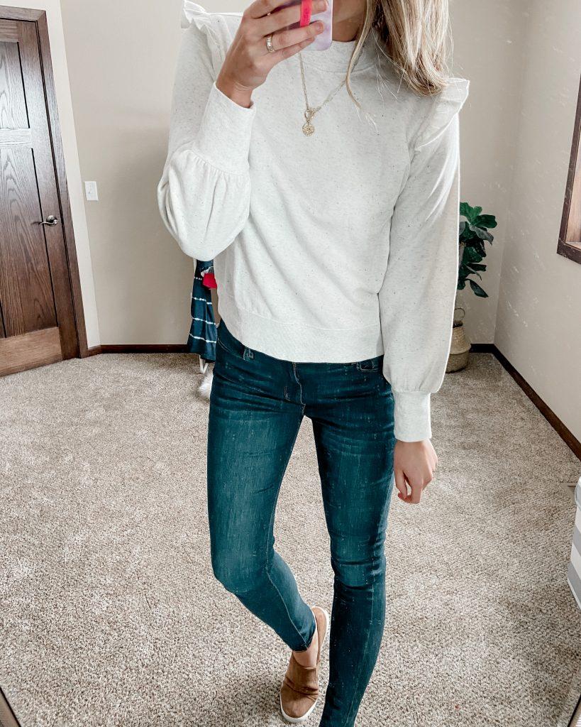 ruffle shoulder sweatshirt / sherpa sweater / long jeans / levis jeans / dark wash jeans / skinny jeans / winter outfits / best amazon items / best amazon sweater