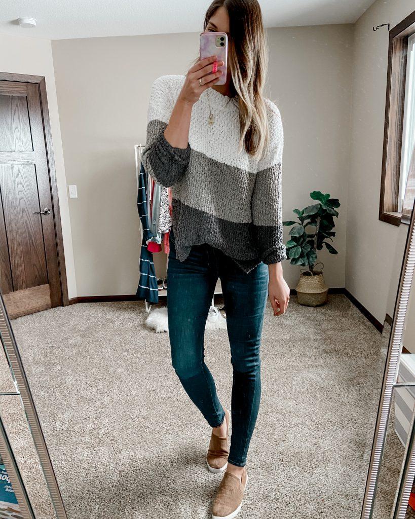 colorblock sweater / sherpa sweater / long jeans / levis jeans / dark wash jeans / skinny jeans / winter oufits / best amazon items / best amazon sweater