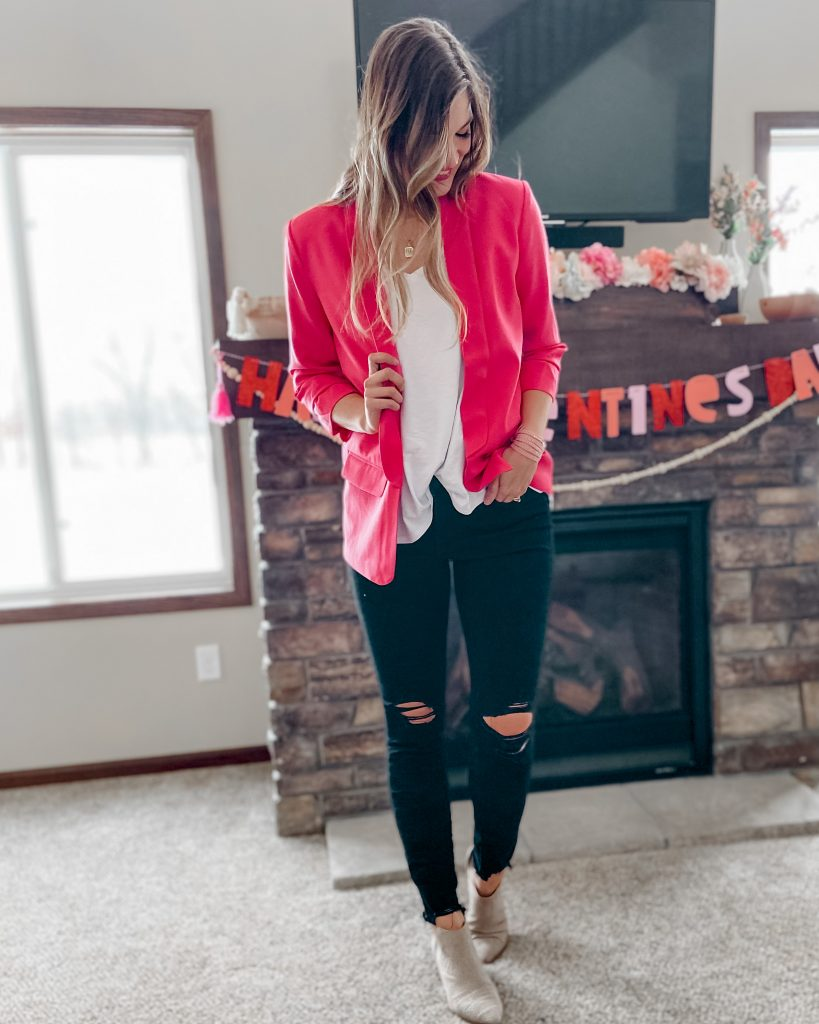 Hot pink boyfriend blazer for $24 / white layering tank black distressed long skinny jeans beige pointed tie low heel booties Valentine's Day outfits decor date night outfit