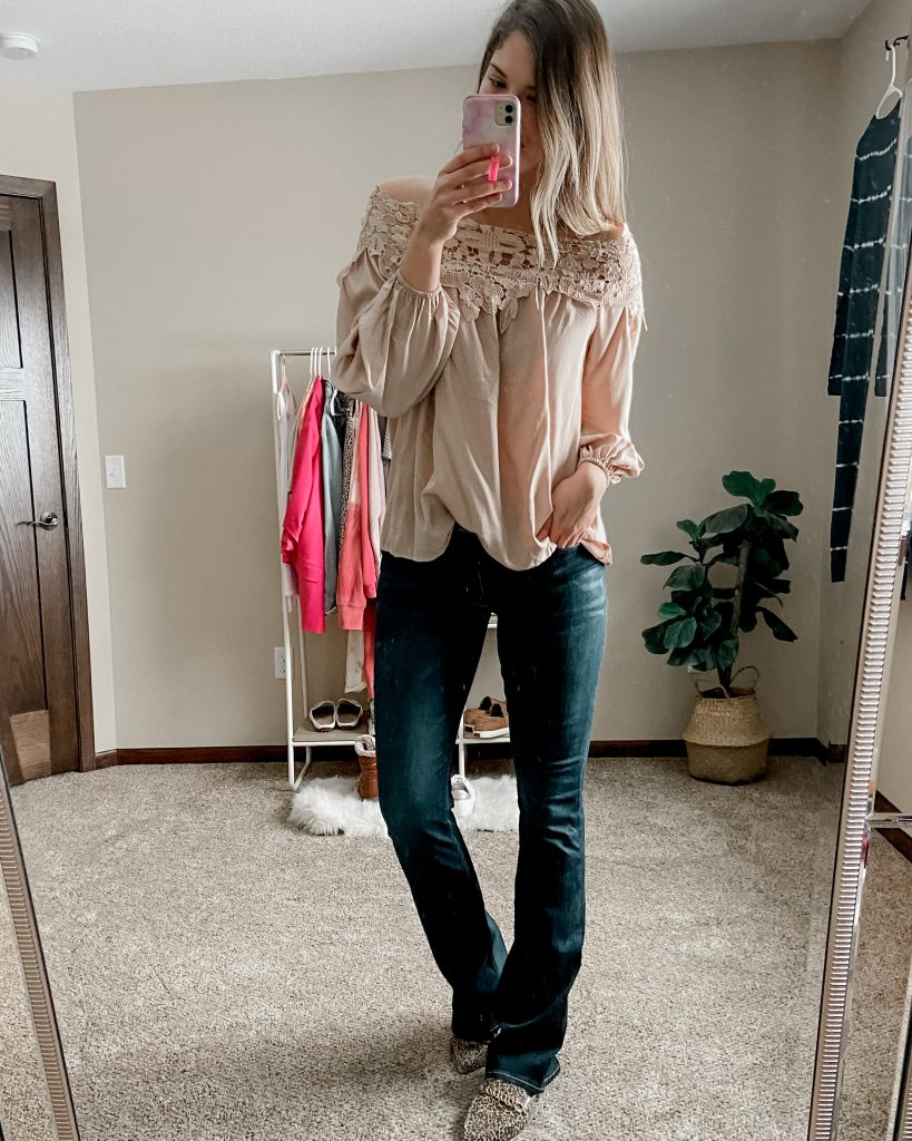 lace blouse / amazon blouse / flare jeans / extra long jeans / american eagle jeans / cheetah mules / tall jeans
