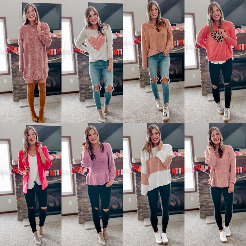 date night outfits / pink sweater / valentines day outfits / sweater dress / pink sweater / spring style / heart sweater