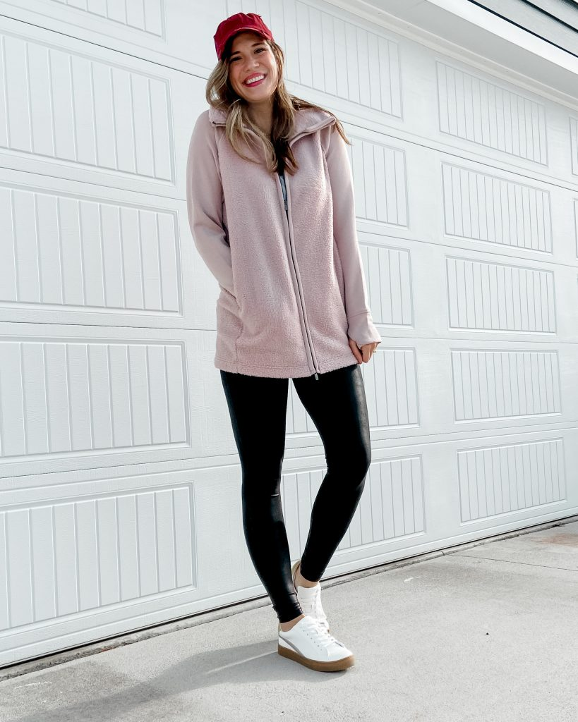 blush sherpa jacket / target sherpa jacket / distressed womens baseball hat / white tennis shoes / spanx faux leather leggings