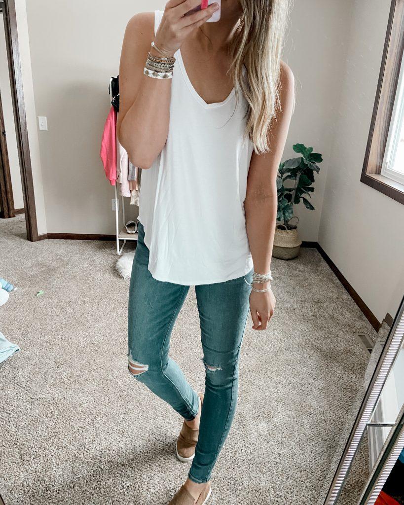white amazon tank / v neck tank / white tank top / long jeans / long skinny jeans / tan slip on shoes / cuff bracelet / crystal bracelet