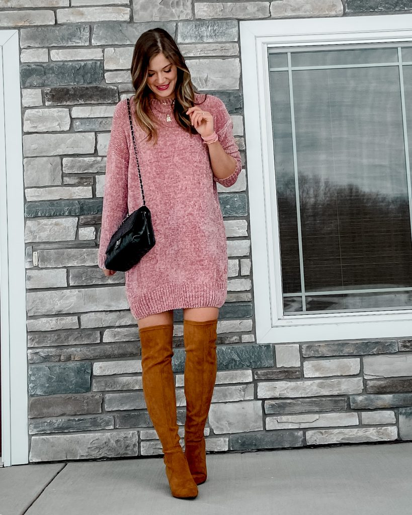 Blush chenille sweater dress / camel over the knee boots Valentine's Day outfits date night outfit decor