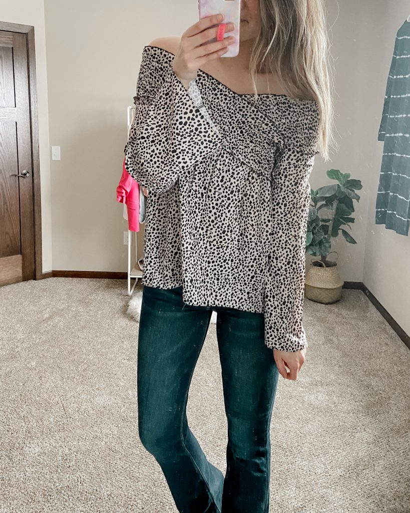 lace blouse / amazon blouse / flare jeans / extra long jeans / american eagle jeans / cheetah mules / tall jeans / cheetaho ff the shoulder blouse / babydoll long sleeve top