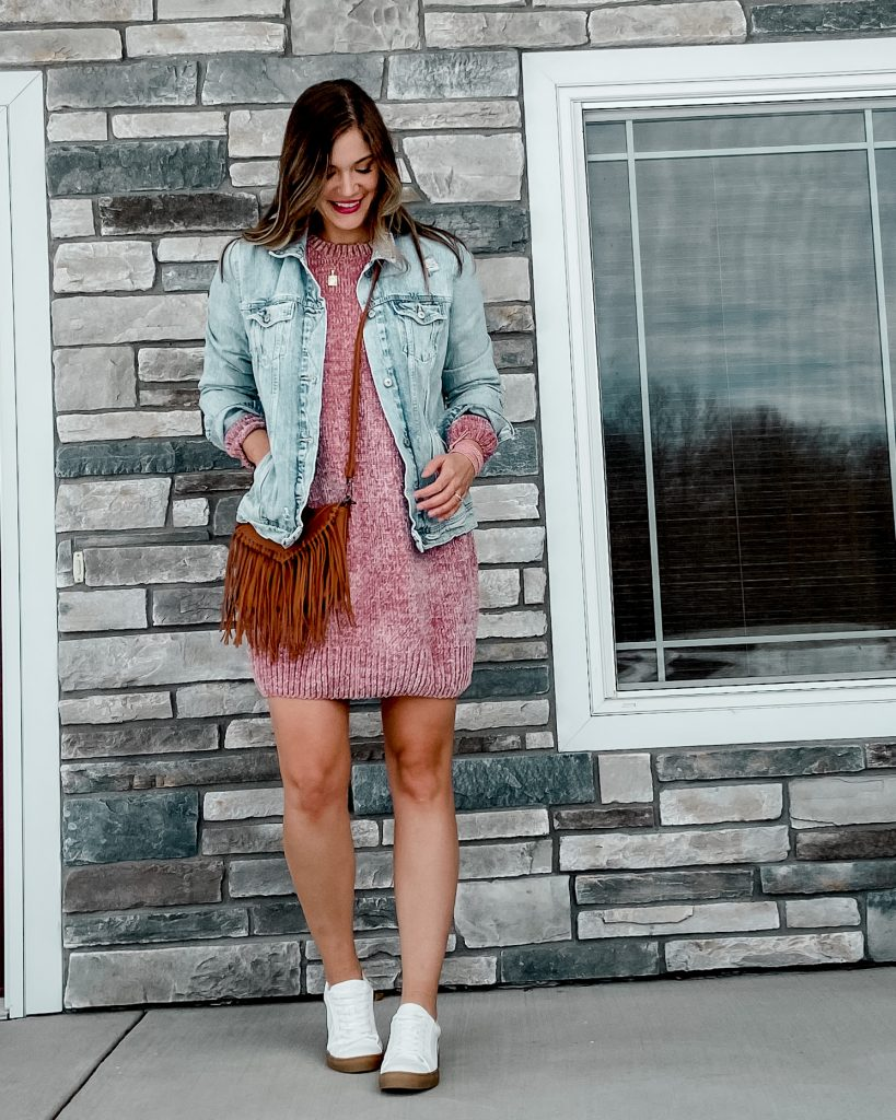blush sweater dress / tall jean jacket / fringe crossbody bag / white retro tennis shoes
