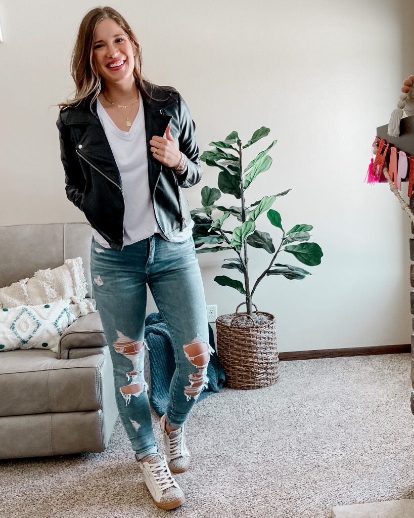 best jackets for spring / faux leather moto jacket / black moto jacket / tall moto jacket