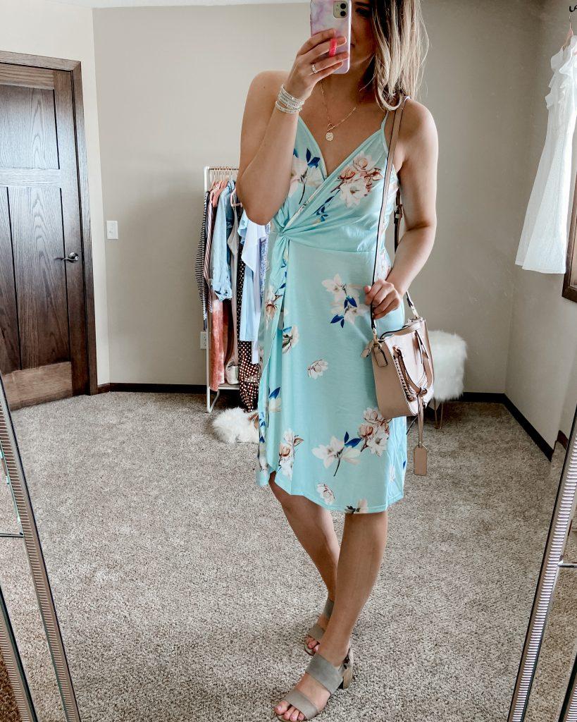 teal dress / teal floral wrap dress / tank top dress / spring dresses / amazon dress / dresses under $50 / dresses under $40 / spring break dress / sole society satchel bag