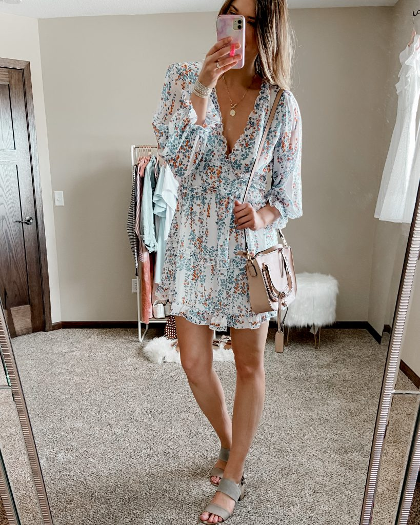 block heels / satchel bag / sole society destin satchel / floral dress / mini dress / ruffle mini dress/ open back mini dress/ amazon dresses / spring dresses / dresses under $50