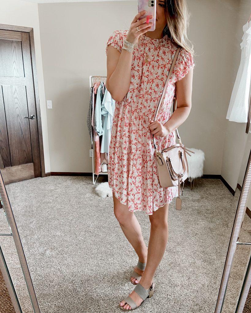 floral amazon dress / amazon dresses / dress under $50 / floral spring dress / date night dress / bridal shower dress / baby shower dress / satchel bag / sole society bag / block heel sandals