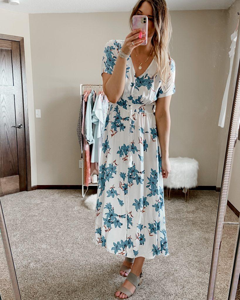 maxi dress / floral maxi dress / amazon maxi dress / dresses under $50 / dresses under $40 / spring dresses / floral dress / wedding guest dress