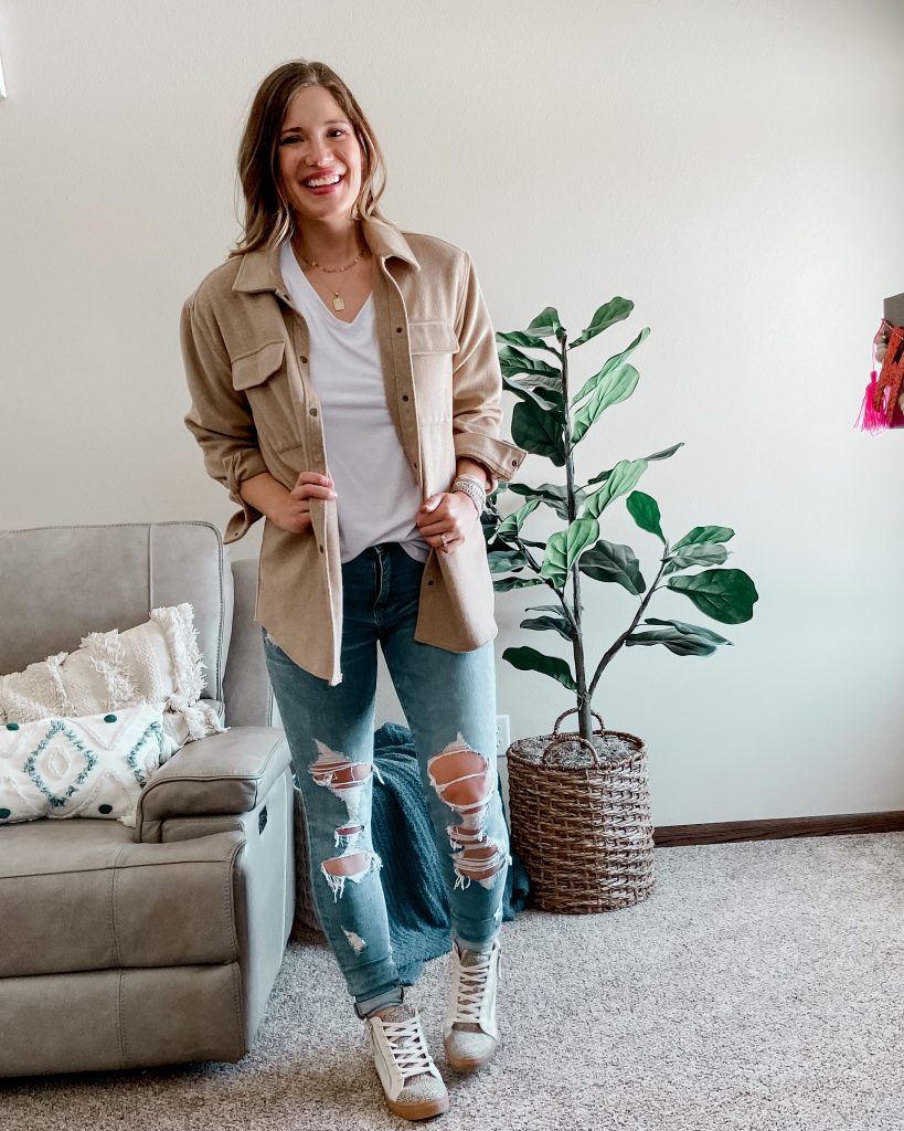 spring jacket / tan shacket / shacket / canadian tuxedo / hightop sneakers / high top tennis shoes